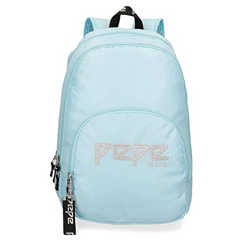 Pepe Jeans Uma Mochila Doble Compartimento Adaptable a Carro Azul 32x44x22 cms Poliéster 20.46L