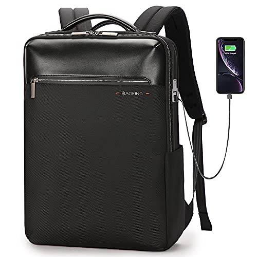 AOKING Mochila impermeable con conector USB para portátil de 15,6 pulgadas. Negro Talla única