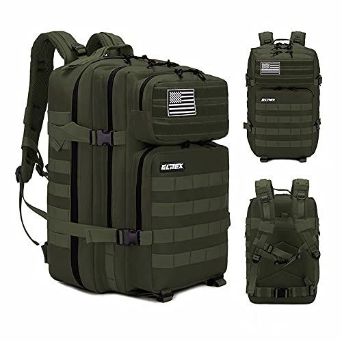 Elitex Mochila 25L Tactica Militar Color Verde Bandera USA Impermeable para Deporte, Gimnasio, Aire Libre Oxford 900D