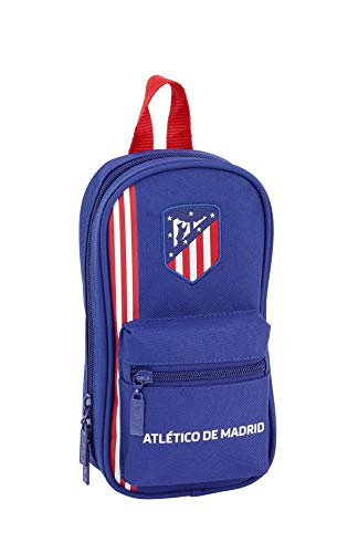 Safta Estuches Unisex Adulto Plumier Mochila con 4 portatodo llenos de Atletico de Madrid 'In Blue' 411945-747 C/4 Port ATCO. D 12x23x5, ATM Marino, Talla única