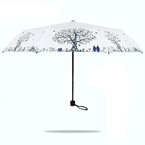 SBSNH Creative Paraguas Ultraligero for Sol Paraguas for Mujer Paraguas Anti-Ultravioleta Plegable, Paraguas de Sol de Viaje Compacto Impreso Parasol protección UV Plegable