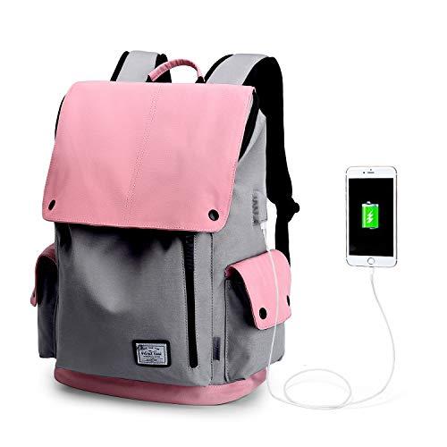 WindTook Mochila Portatil para Mujer y Hombre Mochila Ordenador Portatil 15.6 Pulgadas Mochila Escolar Multiusos Impermeable para Viajes/Negocios/Universidad/Trabajo Rosa