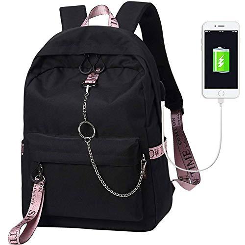 Escuela Mochila Talega de Libros Colegio Ordenador portátil USB Mochila Casual Viajes Daypack para Adolescente Chicas y Mujeres