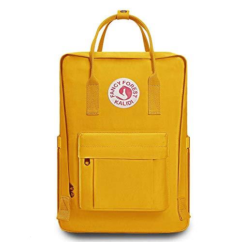KALIDI- Mochila Unisex de Estudiante, Mochila Escolar del Ordenador Portátil,Bolso Portátil Resistente Suave, Amarillo
