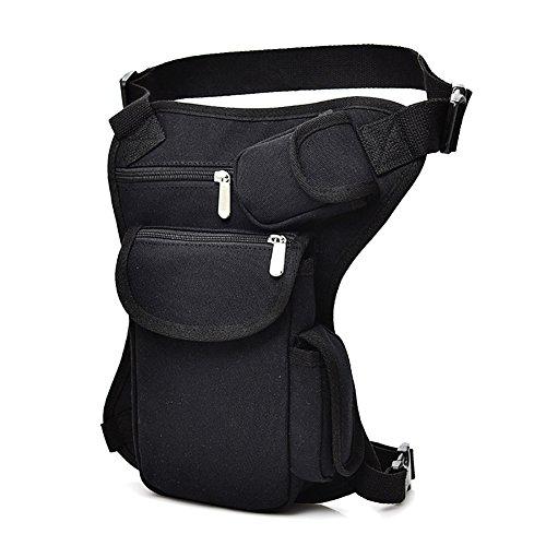 Bolso de pierna de lona unisex, bolso de muslo multifuncional e impermeable, para pesca,ciclismo,senderismo,camping, escalada, viaje, motociclismo,Negro , tamaño 1