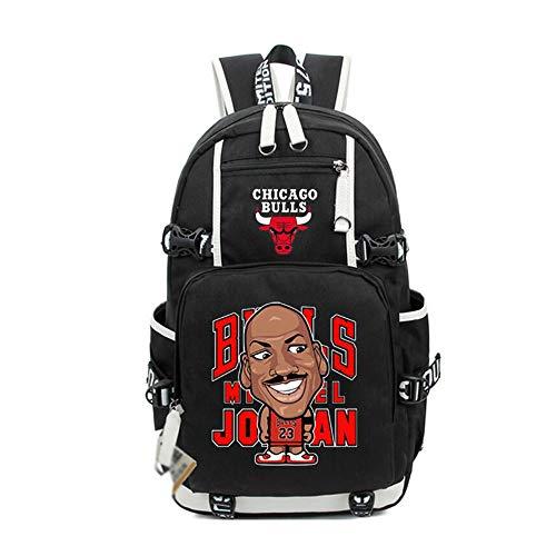 TFTREE Jordan dibujos animados hombres y mujeres mochila estudiante viaje gran capacidad cómoda cremallera bolsa lona negro azul black