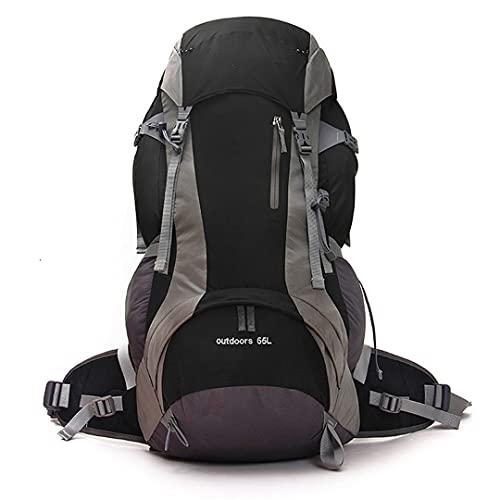 Ynrbeminb Gran Capacidad al Aire Libre 75L Bolsa de montañismo Profesional con Deportes extraíbles Viajero de excursión de excursiones de la Cubierta de la Lluvia Black Color 50-70L
