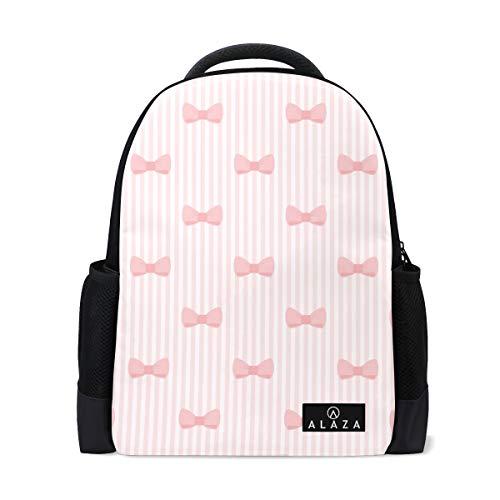 My Daily Cute Bows and Stripes Mochila 14 pulgadas portátil Daypack Bookbag para viajes universitarios