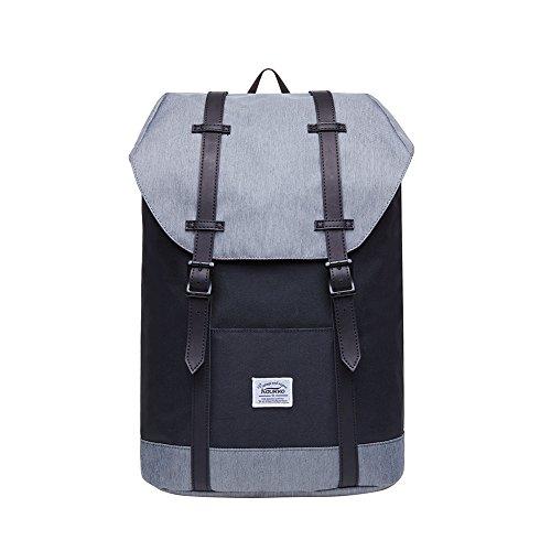 Mochila Casual KAUKKO Mochila de estudiante ligero 16' Laptop Bolsa al aire libre para viajar/deporte/cámping (Negro y Gris)