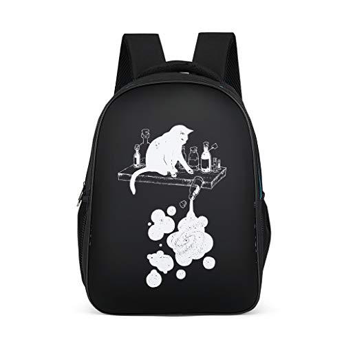 Divertidas mochilas para niños con diseño de gato negro y botellas impresas en 3D con brisa para el colegio, para niños