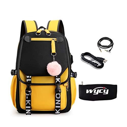 WYCY Girl Hair Ball Mochila 35L Gran Capacidad Oxford Cloth School Bag Estuche de lápices Luminoso con Carga USB y Puerto para Auriculares (Mochila de Bolas de Piel Negro Amarillo)
