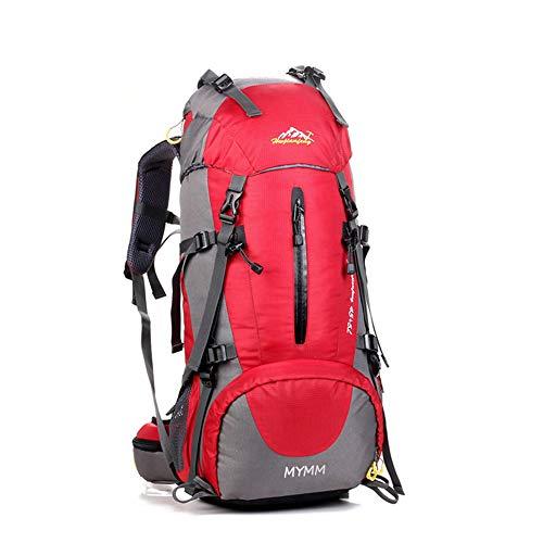 MYMM Mochila de 50/80L, Ideal para Deportes al Aire Libre, Senderismo, Trekking, Camping Travel, Escalada. Bolso Impermeable del Alpinismo, Daypacks Que suben del Recorrido, Mochila (Rojo, 50L)
