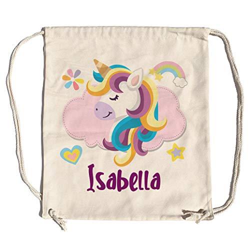 LolaPix Mochila Saco Infantil Personalizada con Nombre. Mochila de Cuerdas Personalizada niño para la Vuelta al Cole. Mochila Saco Kids. Unicornio Sonriente