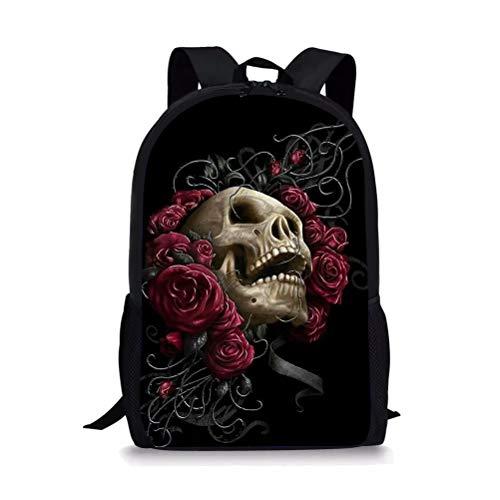 POLERO Mochila escolar para niños Mochila escolar con calavera de rosas rojas Mochila floral esquelética con bolsillo lateral Dead Head Flower Day Pack para niños Niños Niñas Mujeres Hombres Regalo