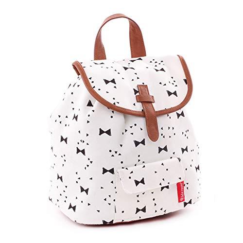 Backpack Kidzroom Black & White Bows Mochila Infantil, 28 cm, Blanco (Bows)