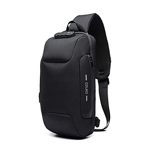 OZUKO Casual Sling Bag, Mochila de Hombro Bolsas de Hombro Impermeable Crossbody Bolsa Sling Pecho Bolsas, Hombres Sport Fitness Chest Bag con Puerto de Carga USB (Negro)