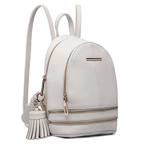 Miss Lulu Mujer Bolsos mochila Bolsos de mano Bolsos bandolera Mochila de a diario Bolsa de Viaje Bolsos de peso Ligero Daypack para Escuela trabajo fecha (Blanco)