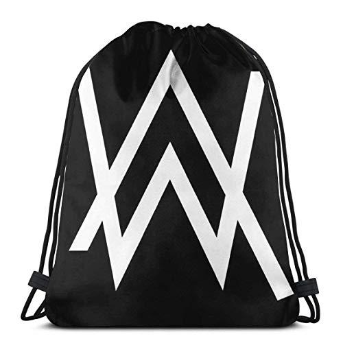 N / A A-LAN WAL-Ker - Mercancía con Logotipo Blanco Unisexo Bolsas De Cordones Impresión Mochila Cordónes Premyo Drawstring Bolso Multiusos Gimnasia Saco Bolsa per Mujer Hombre