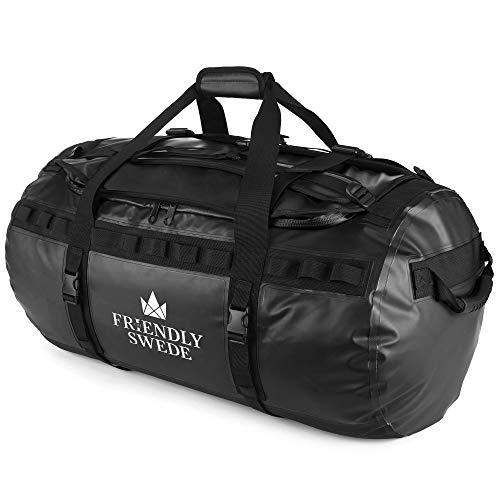 The Friendly Swede Duffel Bolsa de Viaje y Deporte Convertible en Mochila - Duffle Bag (Capacidad: 30l/ 60l/ 90l) (90L Negro)