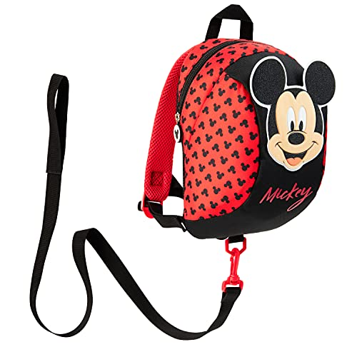 Disney Mochila Bebe Guarderia, Mochila Infantil de Mickey y Minnie Mouse, Mochila Guardería con Arnes Para Bebes (Rojo)