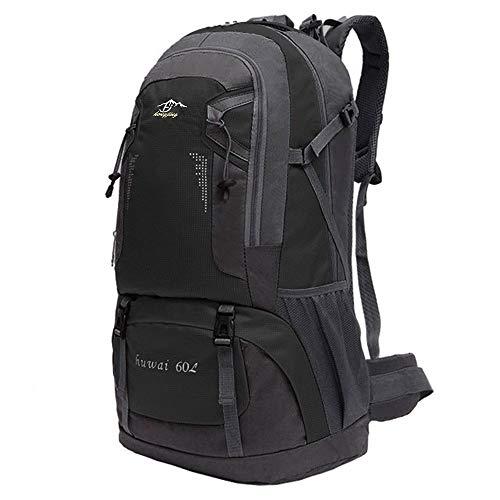 OcioDual Mochila 60 litros Impermeable Negra de Senderismo Montaña Montañero Viaje Acampada Acampar Aire Libre Trekking 60L
