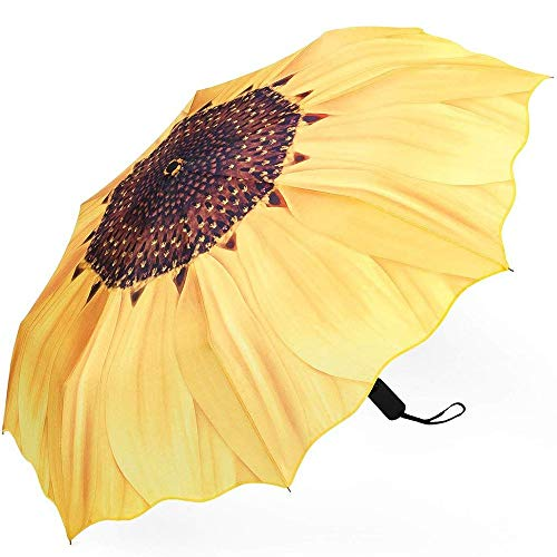 Memory Paraguas Plegables Manuales, A Prueba De Viento Diseño Girasol Paraguas Compacto Anti-UV con Anti-Slip Grip De Goma, De Negocios Y Viajes