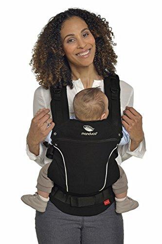 manduca First Baby Carrier  PureCotton  Mochila Portabebe Ergonomica, Algodón Orgánico, Extensión de Espalda Patentada, para Recién Nacidos y Bebés de 3,5 a 20 kg (PureCotton, NightBlack (negro))