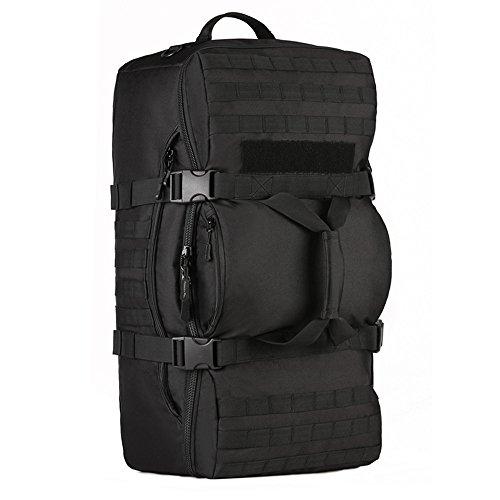 YuHan - Mochila táctica, 60 L, para senderismo, mochila militar con sistema modular de carga y transporte de equipamiento ligero (MOLLE), negro