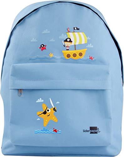 Liderpapel Cartera Escolar Mochila Piratas Color Azul Celeste 380x280x120 mm