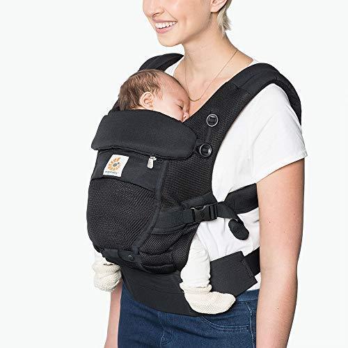 Ergobaby BCPEAPBLK - Mochila portabebés para recién nacidos a partir de 0 meses, 3 en 1, con malla de aire, color negro