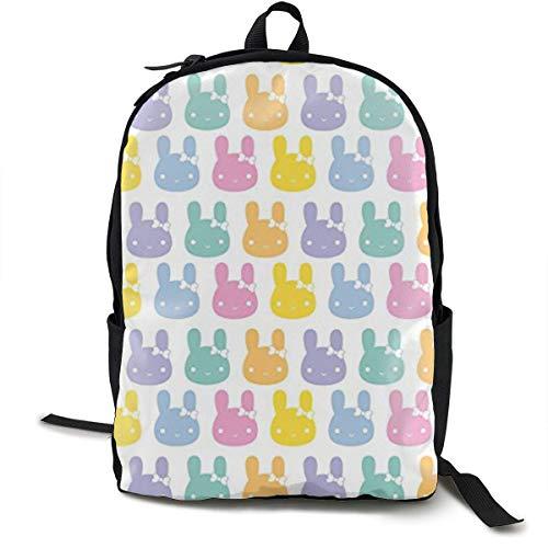 hengshiqi Mochila Backpack, Pastel Rainbow Bunny Bows Classic Backpack - Black