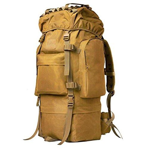 Surnoy Mochila de Viaje Super Capacity Travel Tactical Mochila de Camuflaje Montañismo Hombro Hombres y Mujeres, Marrón A, 65L