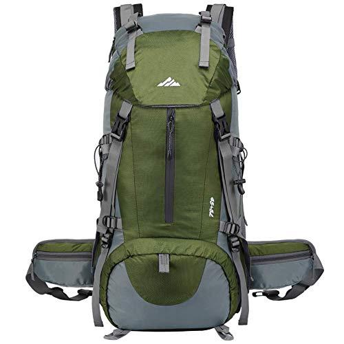 Lukasa Mochila de Senderismo 50L con Cubierta Impermeable, Mochila Trekking al Aire Libre, Bolsa para Caminatas Adecuada para Caminatas, Acampadas, Deportes al Aire Libre (Verde)