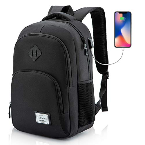 LOSMILE Mochila Portatil para Hombre Mochilas Escolares Juveniles con Puerto de Carga USB Resistente Al Agua Bolsa de Viaje Trabajo Daypacks 15.6 Pulgada (Negro)