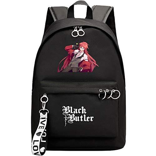 Mylxdn Black Butler Anime Mochila Escolar con Puerto De Carga Daypack Ambulante Bolso De Escuela De Hombro Bolsa para Portátil para Niños Y Niñas