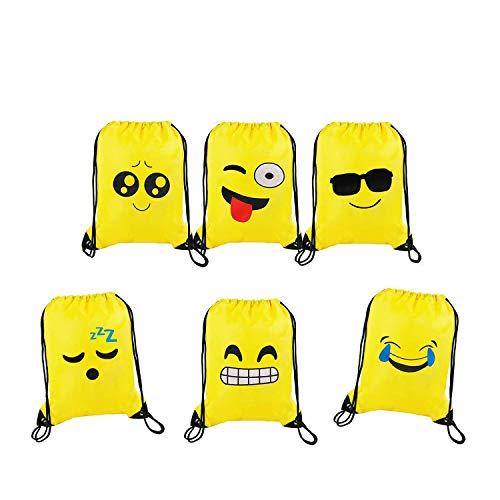 Emoji Bolsas de Cuerdas Emoji Cordón Mochila Bolsas Regalo Cumpleaños Deporte Gimnasio Backpack Para Niños Niñas Fiesta de Cumpleaños Favores Decoraciones 6pcs