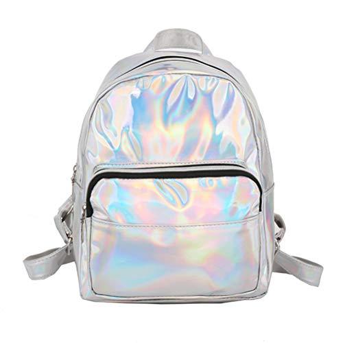 Mochila holográfica para niña Mochila escolar de viaje con láser de moda Mochila de viaje de gran capacidad Mochila holograma para niñas mujeres - plata