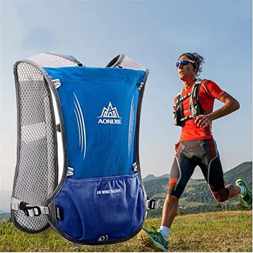 AONIJIE - Mochila Paquete de hidratación 5 L Corredor de Maratón Chaleco de hidratación durante la carrera, senderismo, Mochila con paquete de hidratación, color azul, tamaño No Bladder