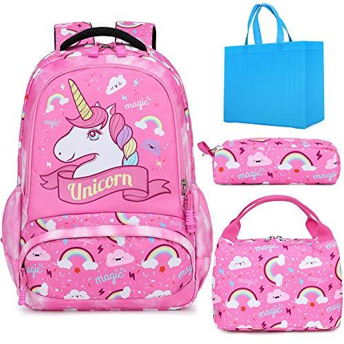Mochila Unicornio Niños Impermeable Mochila Escolar para Adolescente Pequeñas Mochilas Infantil Bolso para Chicas para La Escuela,Viajes,Intemperie Juego de 3 - Rosa Profundo