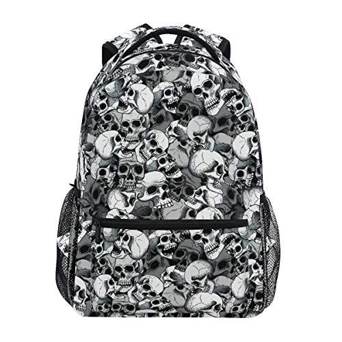 Ahomy Mochila escolar para adolescentes y niños, color negro y blanco calaveras línea de arte de viaje, mochila de senderismo para mujeres y hombres