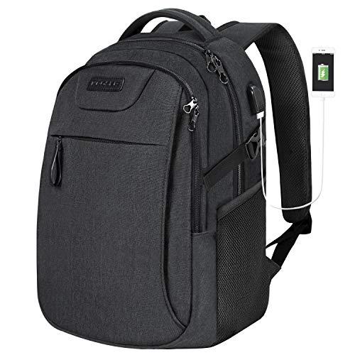 KROSER Mochila para Portátil de 15.6' Mochila de Viaje/Trabajo para Computadora con Puerto de Carga USB Hidrófugo Bolsa Informal Escolar para Hombre/Mujer-Carbón Negro Laptop Backpack
