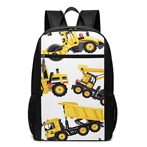 OMNVEQ Mochila Escolares Road Roller Bulldozer Dumper Truck, Mochila Tipo Casual para Niñas Niños Hombre Mujer Mochila para Ordenador Portátil Viaje