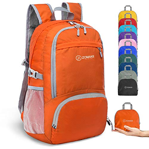 ZOMAKE 30L Ligera Mochila Plegable de Senderismo Excursión Deportes, Mochilas Pequeña Impermeable para Mujer Hombre Viaje(Naranja)