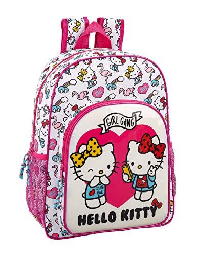 Hello Kitty Mochila Grande Adaptable a Carro, 42 cm, Rosa/Blanco