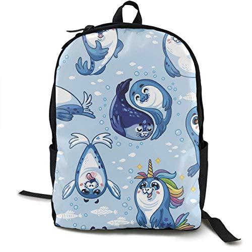 zhengchunleiX Sports Book Bags,Casual Rucksack,Travel Daypacks,Seal Pup Cartoon Unique Mochila Durable Oxford Outdoor College Students Busines Laptop Computer Shoulder Bags