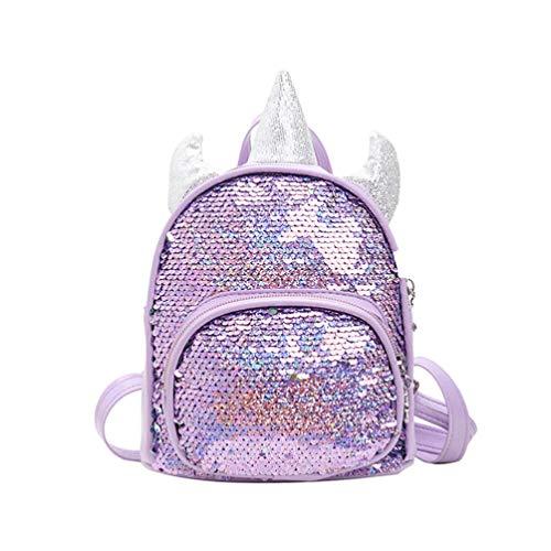 VALICLUD Mochila de Brillo Brillante de Unicornio Lentejuela Reversible Mochila Pequeña de Arco Iris Mágica Mochila Informal para Niña Niño