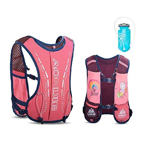 AONIJIE Mochila de hidratación para niños, 2,5 l, con bolsa de agua de 750 ml, para senderismo, bicicleta, escalada, color rosa + burbuja de agua