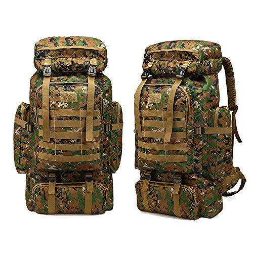 Greenpromise Al aire libre 80L gran capacidad mochila militar mochila táctica montañismo bolsa camping senderismo militar camuflaje repelente al agua (Jungle camuflaje)