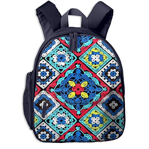 Mochilas Infantiles, Bolsa Mochila Niño Mochila Bebe Guarderia Mochila Escolar con Crochet Floral De Punto