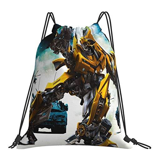 Transformers Optimus Prime Bumblebee Películas Sack Mochila de cordón portátil al aire libre Mochila de gran capacidad para la escuela de lona deportes natación viajes playa unisex